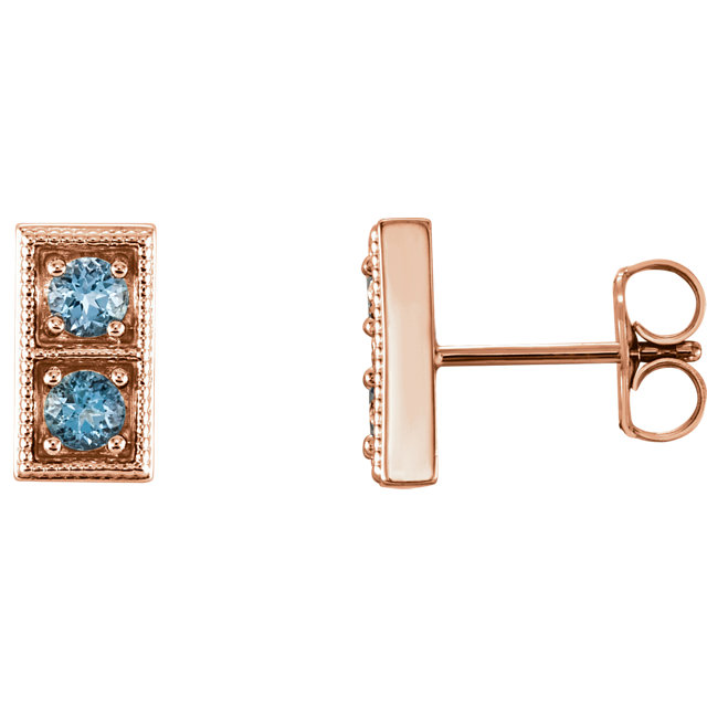 Easy Gift in 14 Karat Rose Gold Aquamarine Two-Stone Earrings
