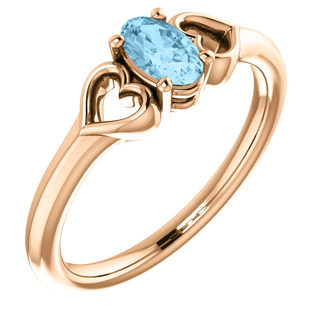 Jewelry Find 14 KT Rose Gold Aquamarine Youth Heart Ring