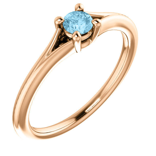 Appealing Jewelry in 14 Karat Rose Gold Aquamarine Youth Ring