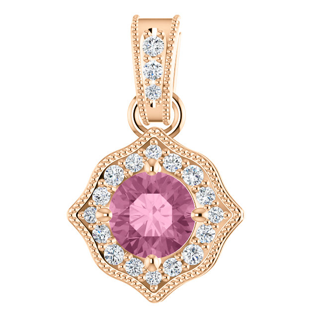Eye Catchy 14 Karat Rose Gold Baby Pink Topaz & 0.17 Carat Total Weight Diamond Pendant