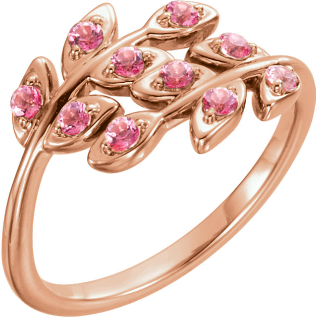 Spectacular 14 Karat Rose Gold Round Genuine Baby Pink Topaz Leaf Design Ring