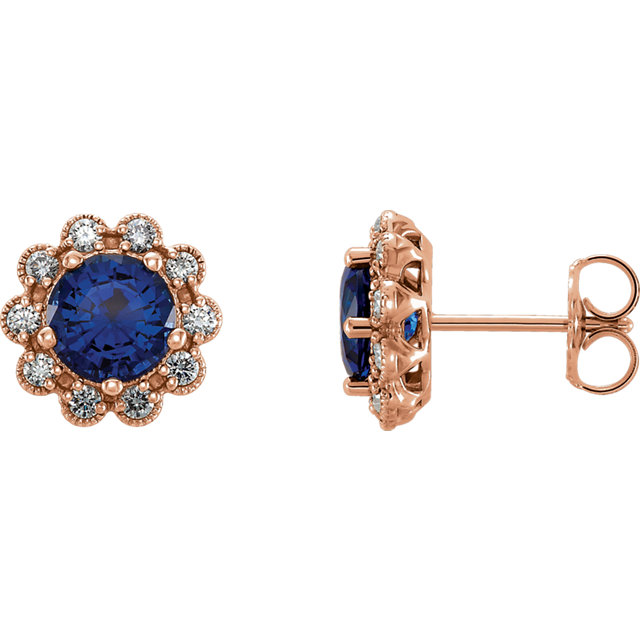 Surprise Her with  14 Karat Rose Gold Blue Sapphire & 0.33 Carat Total Weight Diamond Earrings