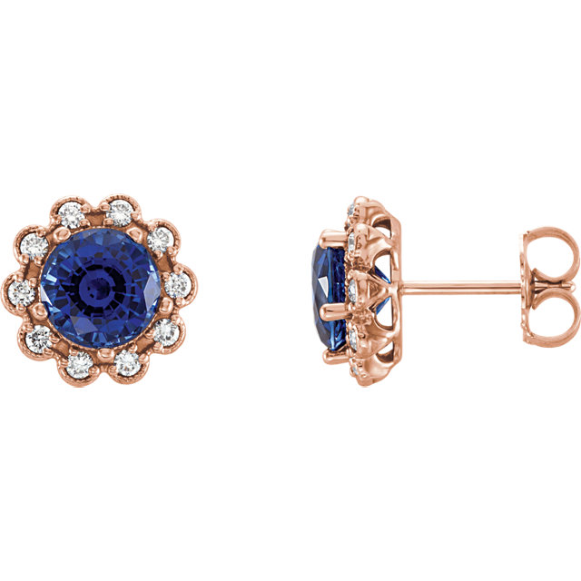 Very Nice 14 Karat Rose Gold Blue Sapphire & 0.33 Carat Total Weight Diamond Earrings