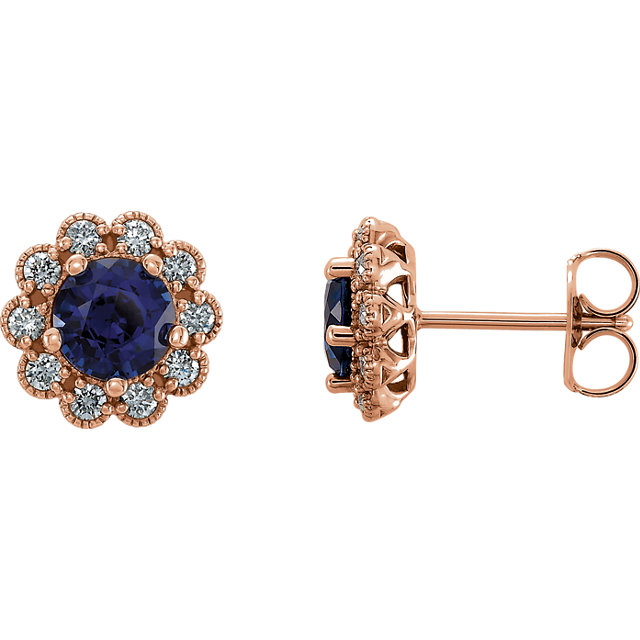Appealing Jewelry in 14 Karat Rose Gold Blue Sapphire & 0.25 Carat Total Weight Diamond Earrings