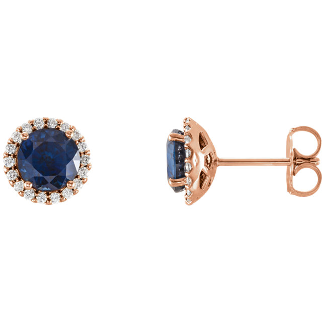Contemporary 14 Karat Rose Gold Blue Sapphire & 0.17 Carat Total Weight Diamond Earrings