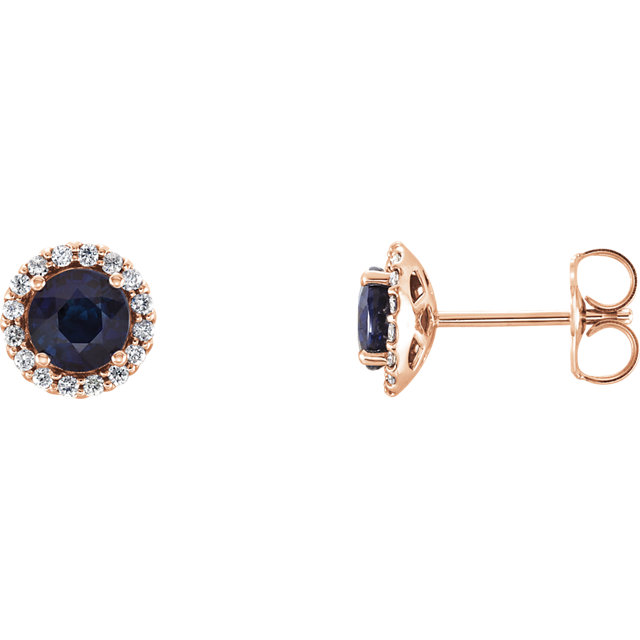 Wonderful 14 Karat Rose Gold Blue Sapphire & 0.17 Carat Total Weight Diamond Earrings