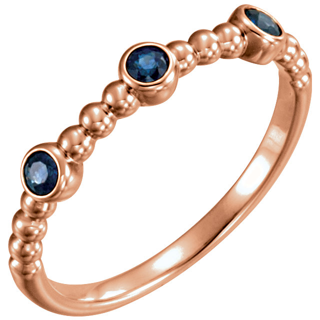 14 Karat Rose Gold Blue Sapphire Beaded Ring