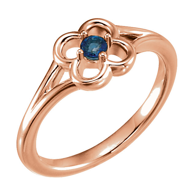 Great Gift in 14 Karat Rose Gold Blue Sapphire Flower Youth Ring
