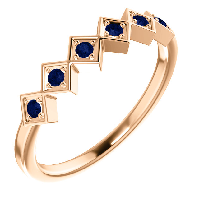 Fine Quality 14 Karat Rose Gold Blue Sapphire Stackable Ring