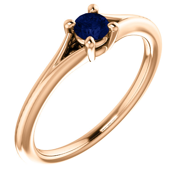Contemporary 14 Karat Rose Gold Blue Sapphire Youth Ring