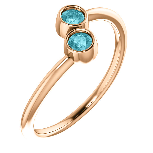 Easy Gift in 14 Karat Rose Gold Blue Zircon Two-Stone Ring