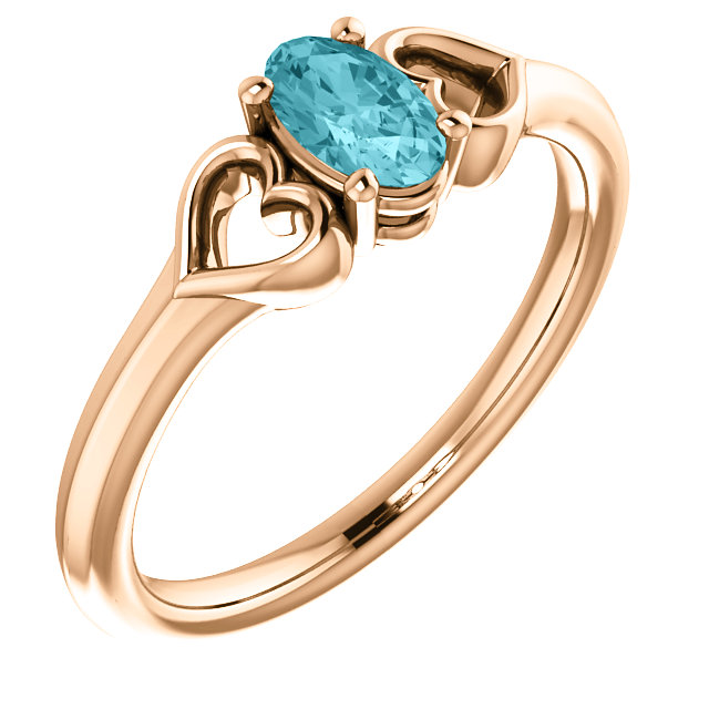 Excellent 14 Karat Rose Gold Oval Genuine Blue Zircon Youth Heart Ring