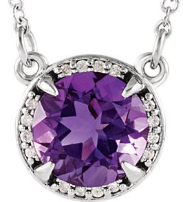 14 Karat Rose Gold Chatham Created Alexandrite and .04 Carat Total Weight Diamond Necklace