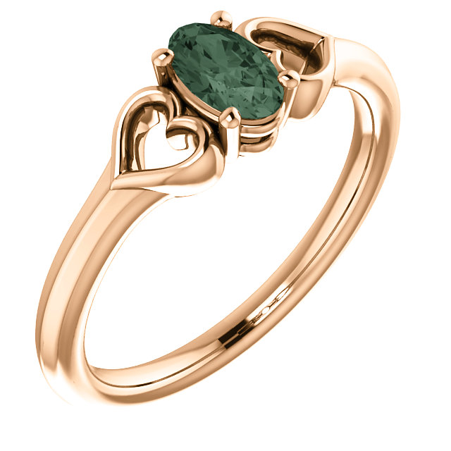 Chic 14 Karat Rose Gold Genuine Chatham Created Created Alexandrite Youth Heart Ring