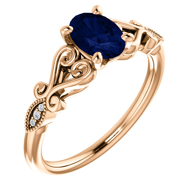 14 Karat Rose Gold Chatham Oval Blue Sapphire & .02 Carat Diamond Ring