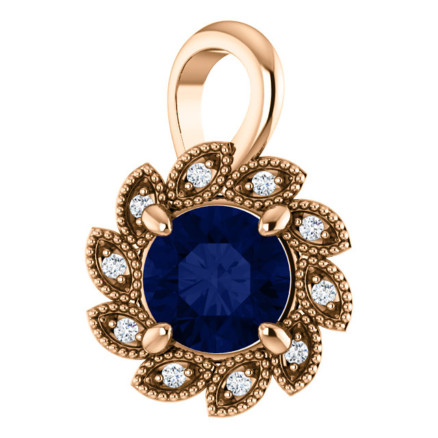 Perfect Gift Idea in 14 Karat Rose Gold Genuine Chatham Created Created Blue Sapphire & .04 Carat Total Weight Diamond Pendant