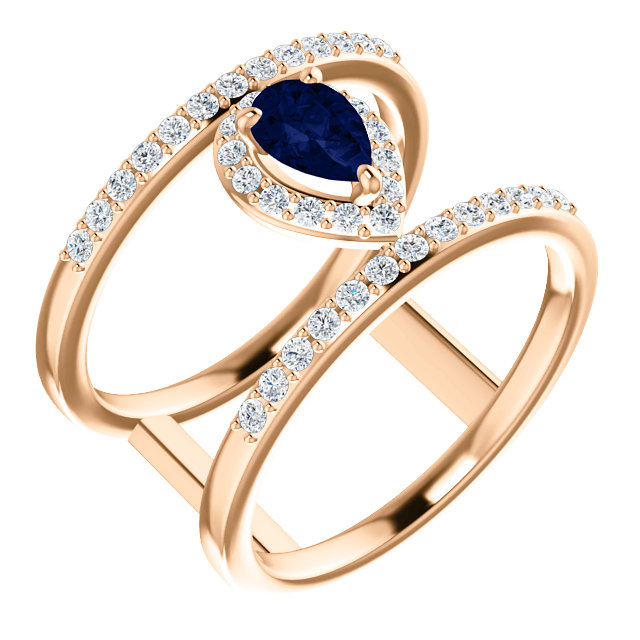 Wonderful 14 Karat Rose Gold Genuine Chatham Created Created Blue Sapphire & 0.33 Carat Total Weight Diamond Ring