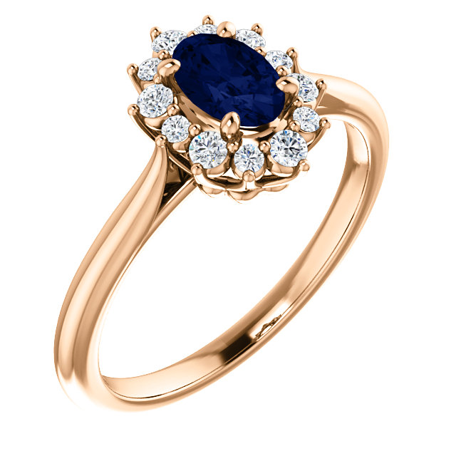Contemporary 14 Karat Rose Gold Genuine Chatham Created Created Blue Sapphire & 0.17 Carat Total Weight Diamond Ring