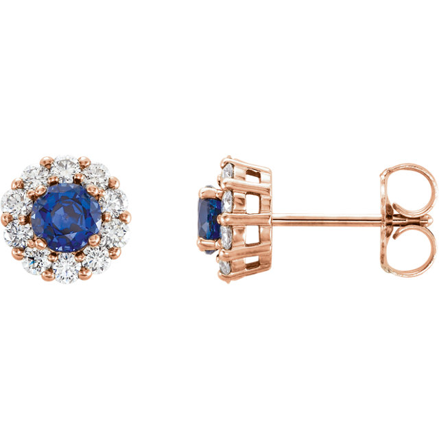 Easy Gift in 14 Karat Rose Gold Genuine Chatham Created Created Blue Sapphire & 0.40 Carat Total Weight Diamond Halo-Style Earrings
