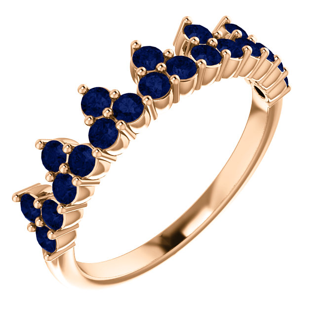Great Buy in 14 Karat Rose Gold Genuine Chatham Created Created Blue Sapphire Crown Ring