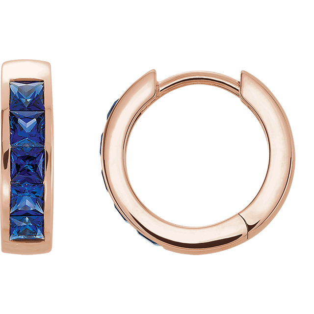 Jewelry Find 14 KT Rose Gold Genuine Chatham Created Created Blue Sapphire Hoop Earrings