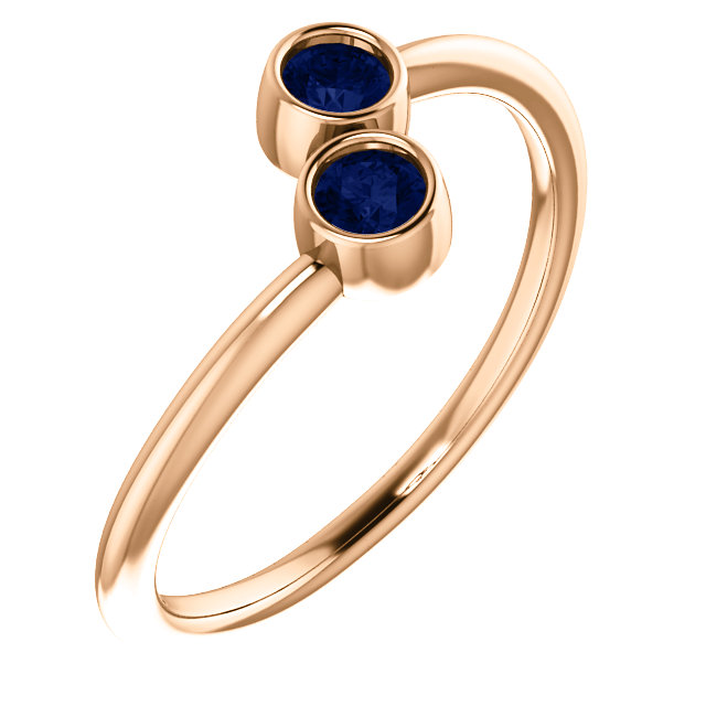 Genuine 14 Karat Rose Gold Genuine Chatham Blue Sapphire Two-Stone Ring