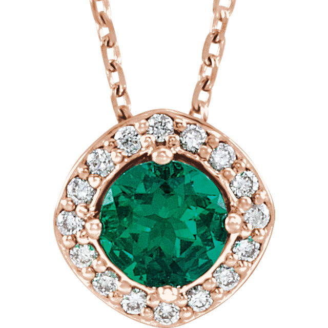 Attractive 14 Karat Rose Gold Chatham Created Round Genuine Emerald & .08 Carat Total Weight Diamond Necklace