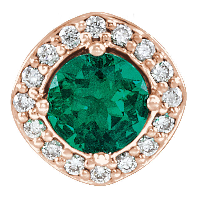 Terrific 14 Karat Rose Gold Chatham Created Round Genuine Emerald & .08 Carat Total Weight Diamond Pendant