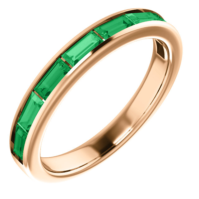 Great Buy in 14 Karat Rose Gold Genuine Chatham Created Created Emerald Ring