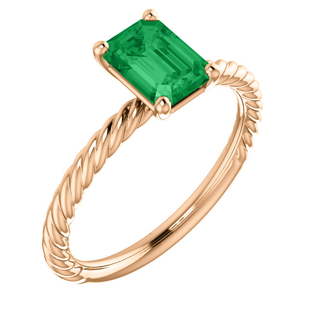 Easy Gift in 14 Karat Rose Gold Genuine Chatham Created Created Emerald Ring