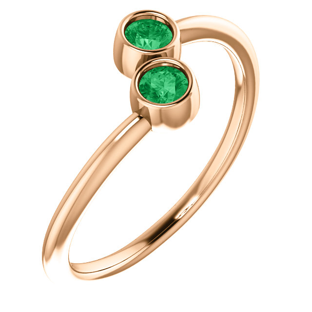 14 Karat Rose Gold Genuine Chatham Emerald Two-Stone Ring