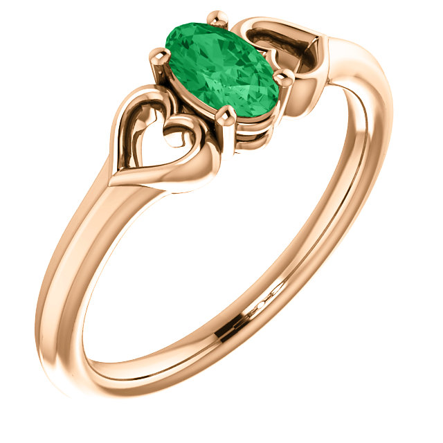14 Karat Rose Gold Genuine Chatham Emerald Youth Heart Ring