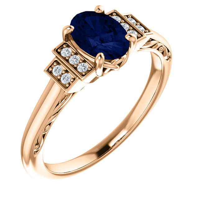 14 Karat Rose Gold Chatham Lab-Grown Oval Blue Sapphire & .05 Carat Diamond Ring