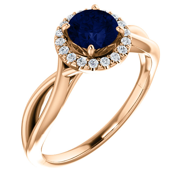 Beautiful 14 Karat Rose Gold Chatham Created Lab-Grown Round Blue Sapphire & 1/10 Carat Total Weight Diamond Ring