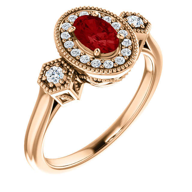 Genuine 14 Karat Rose Gold Genuine Chatham Ruby & 0.17 Carat Diamond Ring
