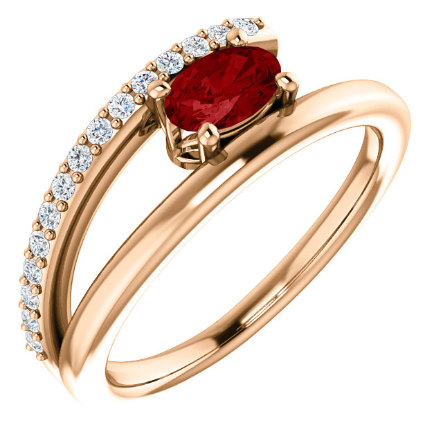 Stunning 14 Karat Rose Gold Genuine Chatham Created Created Ruby & 0.12 Carat Total Weight Diamond Ring