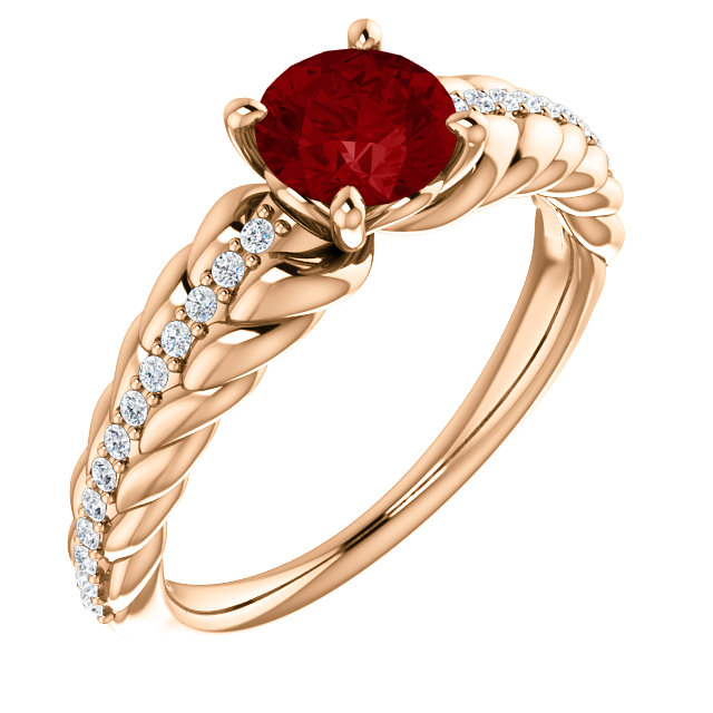 Chic 14 Karat Rose Gold Genuine Chatham Created Created Ruby & 0.12 Carat Total Weight Diamond Ring