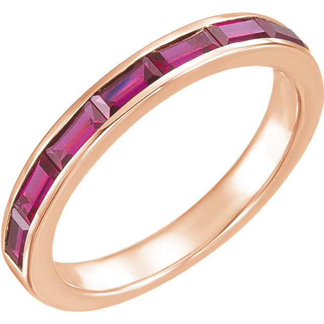 Great Buy in 14 Karat Rose Gold Genuine Chatham Created Created Ruby Ring