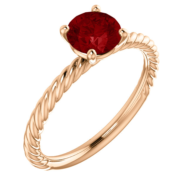 Easy Gift in 14 Karat Rose Gold Genuine Chatham Created Created Ruby Ring