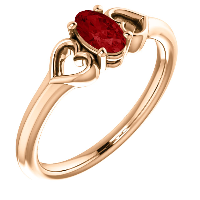 Genuine  14 Karat Rose Gold Genuine Chatham Ruby Youth Heart Ring