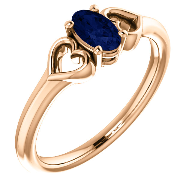 14 Karat Rose Gold Genuine Chatham Sapphire Youth Heart Ring