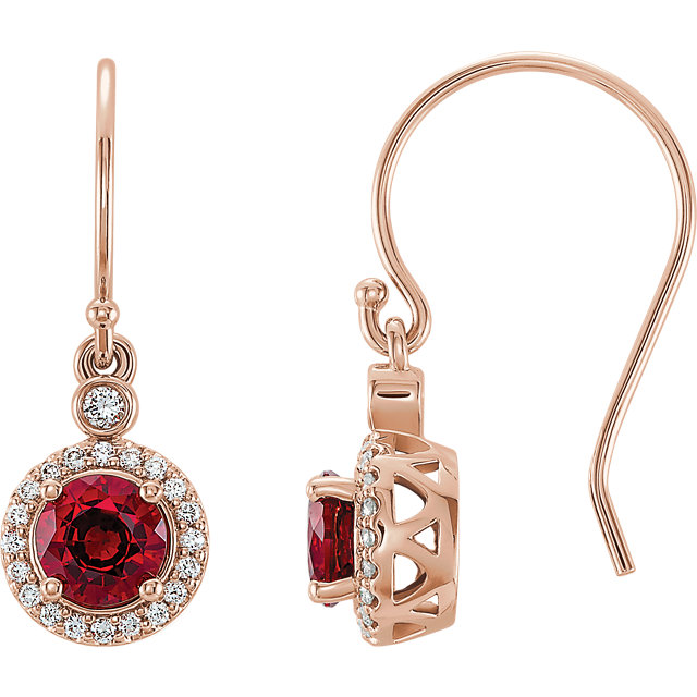 Appealing Jewelry in 14 Karat Rose Gold Chatham Lab Grown Ruby & 0.17 Carat Total Weight Diamond  Halo-Style Earrings
