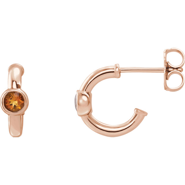 Perfect Gift Idea in 14 Karat Rose Gold Citrine J-Hoop Earrings