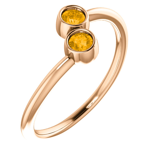 Contemporary 14 Karat Rose Gold Citrine Two-Stone Ring