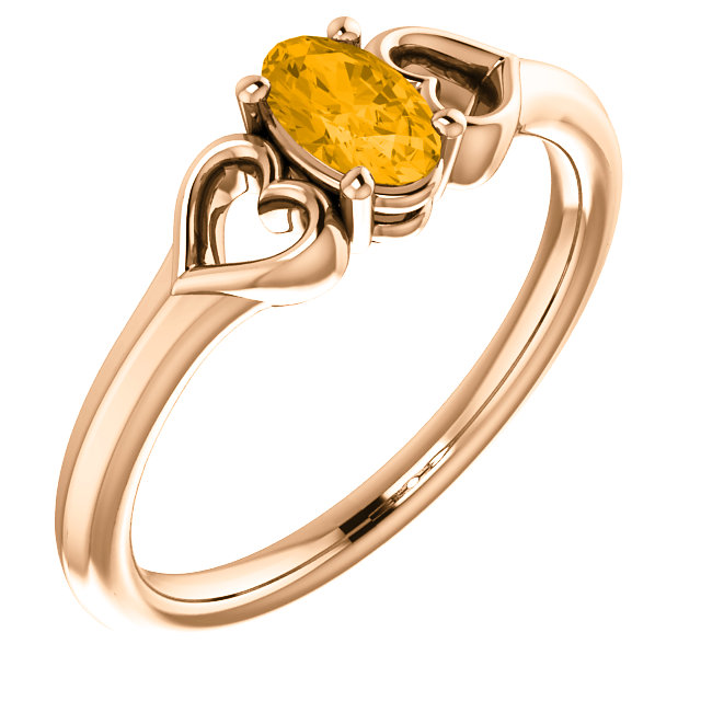 Exquisite 14 Karat Rose Gold Oval Genuine Citrine Youth Heart Ring