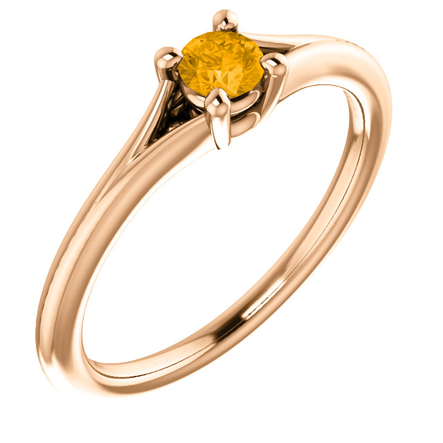 Easy Gift in 14 Karat Rose Gold Citrine Youth Ring