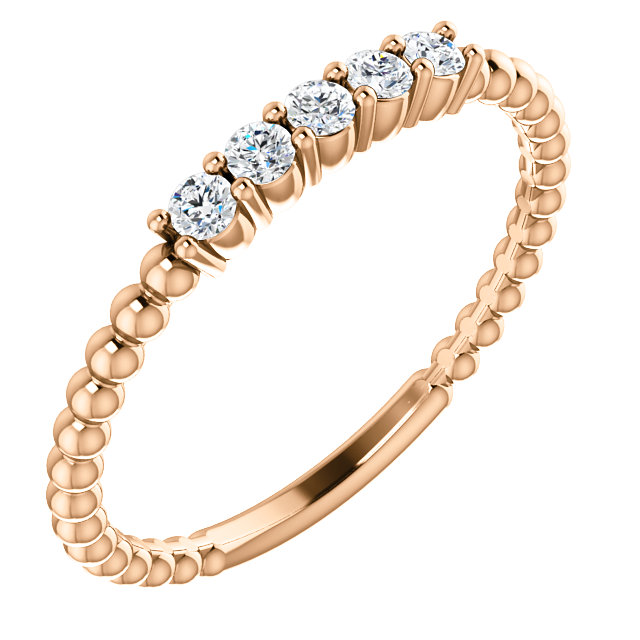 Jewelry Find 14 KT Rose Gold Diamond Stackable Ring