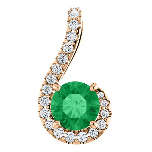 Spectacular 14 Karat Rose Gold Round Genuine Emerald & 1/6 Carat Total Weight Diamond Pendant