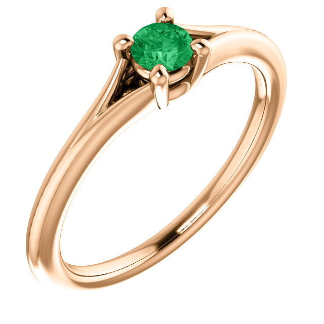 Shop Real 14 KT Rose Gold Emerald Youth Ring