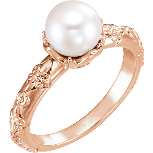 Fine Quality 14 Karat Rose Gold Freshwater Cultured Pearl & .02 Carat Total Weight Diamond Vintage-Inspired Ring